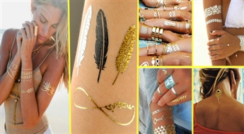 "Laika tetovējums ""Temporary Metallic Tattoo Gold Silver Black Flash""!"