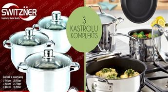 Vislabākie trauki Jūsu virtuvē! Kastroļu komplekts (6 daļas) no augstākās kvalitātes nerūsējoša tērauda!