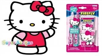 Komplekts meitenēm - zobu pasta, zobu birste un glāze ar Hello Kitty