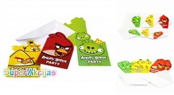 Komplekts no 6 ielūgumu atklātnītēm bērnu ballītei ar jautrajiem Angry Birds!