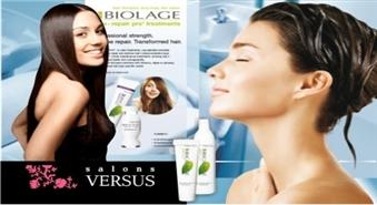 Pirms izlaiduma - Jauns matu sakārtojums un BIOLAGE matu terapija salonfrizētavā VERSUS ar 50% atlaidi!