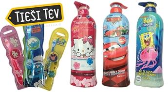 Bērnu dušas želejas - šampūni (1 L) vai bērnu zobu birstes ar Disneja multfilmu varoņiem