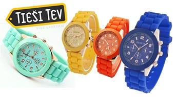 Eleganti silikona rokas pulksteņi Geneva dažādās krāsās sievietēm un vīriešiem