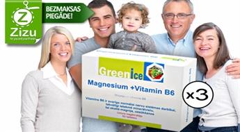 TRĪS iepakojumi efektīva uztura bagātinātāja ar magniju un vitamīnu B6 kauliem, muskuļiem, sirdij un nervu sistēmai tikai par Ls 7,5. BEZMAKSAS PIEGĀDE no Post24!