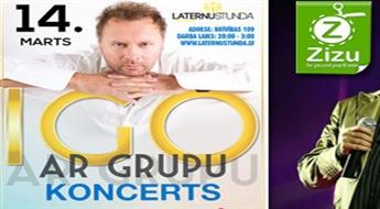 """Biļetes uz IGO koncertu ar pavadošo sastāvu koncertbārā """"Laternu stundā"""" ar 31% atlaidi!"""