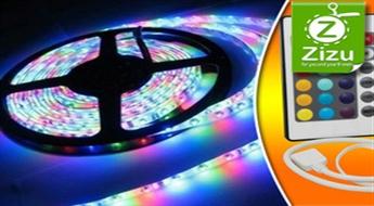 Pašlīmējošā mitrumizturīga gaismas diožu lente ar vadības pulti tikai par € 15,9!