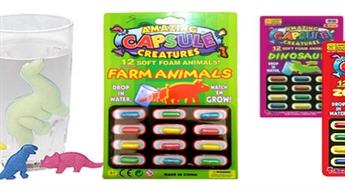 """Kapsulu komplekts (12 gab.), no kurām """"izaug"""" dzīvnieki jūsu acu priekšā (""""Dinozauri"""", """"ZOO"""" vai """"Ferma""""), tikai par € 2,9. PIEGĀDE visā LATVIJA!"""