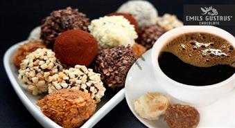 Ļaujies šokolādes valdzinājumam! Kafija + 2 jebkuras trifeles no Emīla Gustava Šokolāde -57%