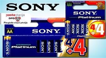 SONY ST-Platinum baterijas: 4 + 4 par brīvu! -50%