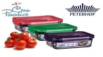 Ietilpīgs stikla konteiners Peterhof rūpīgai produktu uzglabāšanai