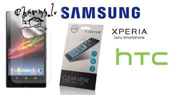 Ekrāna aizsargplēve priekš Sony Ericsson, Samsungs un HTC telefoniem