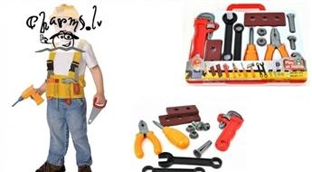 Ļaujiet bērnam justies lomu meistara! Rotaļu Darbarīku instrumentu komplekts 12 elementi