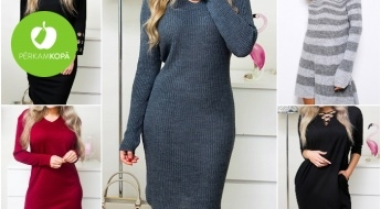 IESKATIES! Ērtas, sievišķīgas un stilīgas džemperkleitas ar pērlītēm un akcentiem - universāls izmērs