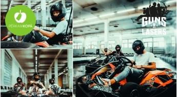 """Sporta nodarbība ar jaudīgiem elektrokartingiem """"GUNSnLASERS"""" iekštelpu trasē 2 personām (10 min)"""