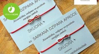 Radīts Latvijā! SKUDRA HANDMADE sarkanais aizsardzības dzīpars ar bezgalības zīmi vai bez
