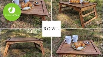 Radīts Latvijā! Rokām darināts bērzkoka brokastu galdiņš ar salokamām kājām
