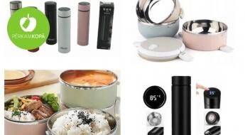Termokrūze ar LED displeju un pusdienu termosi pasteļtoņos, ko ērti paņemt līdzi pārgājienā
