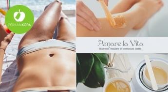 """Salons """"Amare La Vita"""" piedāvā: roku, kāju, padušu vai bikini vaksācija sievietēm ar atsāpināšanu vai bez"""