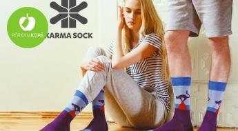 """Lielisks aksesuārs rudenim! Latvijas dizains: """"KarmaSock"""" elegantās zeķes vai zeķu dāvanu komplekti (1 vai 4 pāri zeķu, 37.-45. izmērs)"""