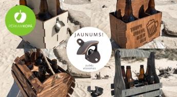 Radīts Latvijā! Koka alus kaste sešām pudelēm ar vai bez gravējuma un pudeļu attaisāmais
