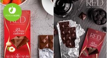 """RAŽOTS LATVIJĀ! Šokolādes batoniņi, konfektes un tāfelītes """"RED"""" ar samazinātu kaloriju daudzumu - nopērkami komplektos"""