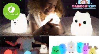 Mīlīgas silikona naktslampiņas bērniem - pūcīte, zaķītis, pelīte, lācītis u.c.