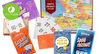"""LATVIJĀ RADĪTAS galda spēles visai ģimenei """"Simts desmit novadi"""", """"Reizrēķins"""", """"Saskaiti un atņem"""", """"Play in English"""" un JAUNUMS - """"Dalīšana"""" un komplekts """"Matemātika"""""""