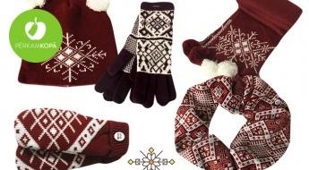 Radīts Latvijā! Adītas cepures, šalles, cimdi un ausu sildītāji ar tautiskiem rakstiem