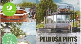 3 h peldošās pirts noma: tvaika pirts un atpūtas terase gleznainajā Daugavas krastā