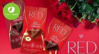 """RAŽOTS LATVIJĀ! Šokolādes tāfelītes """"RED"""" ar samazinātu kaloriju daudzumu"""