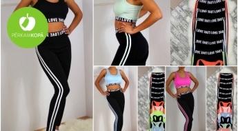 Stilīgi sieviešu sporta tērpu komplekti: krūšturis + legingi dažādās krāsās (S-XL)