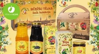 """Veselīgās un gardās """"Rūķīšu tējas"""", zaptes un sulas dāvanu iepakojumos"""