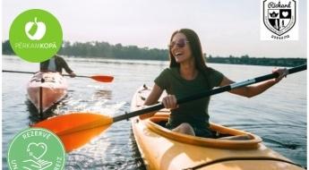 Vasarīgs brauciens ar divvietīgu kajaku Ķīšezerā + airi + veste (1 h)