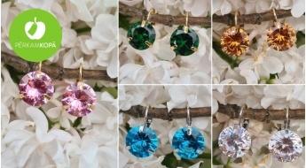 """""""LadyBee jewelry"""" zelta un sudraba pārklājuma auskari ar slīpētiem Austrijas kalnu kristāliem"""