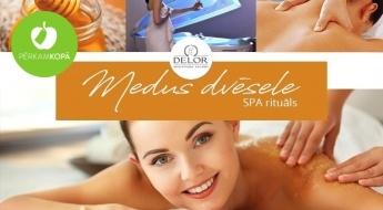 """Relaksējošs SPA rituāls """"Medus dvēsele"""": ķermeņa ietīšana dabīgā medū + SPA kapsula + galvas un ķermeņa masāža (1 h 20 min)"""