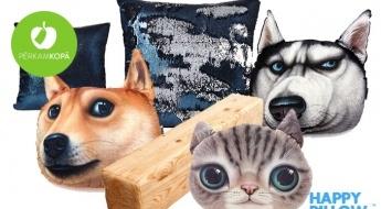 """Oriģinālais """"HappyPillow"""" spilvens: dēlis, kaķis, suns vai krāsu mainošais"""