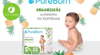 """""""PureBorn"""" organiskās bambusa autiņbiksītes bērniem - dažādi veidi un izmēri"""