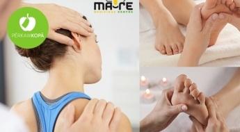 Fizioterapijas speciālista konsultācija + ārstnieciskā apkakles daļas + relaksējošā pēdu masāža