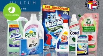 Produkti veļas kopšanai - veļas mazgāšanas līdzekļi un mīkstinātāji, traipu noņēmējs, salvetes žāvēšanai u.c.