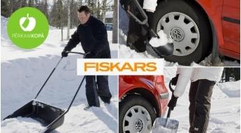 """IZPĀRDOŠANA! """"Fiskars"""" sniega lāpstas, sniega stūmēji un ledus cirtnis"""