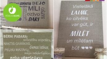 Radīts Latvijā! Dekoratīvas izšūtas kanvas ar sirdi sildošiem citātiem! Divi kanvu izmēri, 7 dažādi dizaini
