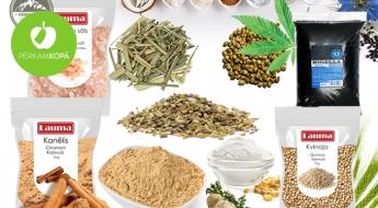 Superfood jeb superprodukti Tavai veselībai un gardām maltītēm: zīdkoka ogas, kvinoja, kokosriekstu cukurs u.c.
