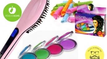 """Padari savu frizūru jautrāku! """"Hot Huez"""" 4 krāsu krītiņi matu tonēšanai, """"Magic Leverag"""" elastīgie matu ruļļi vai matu ķemme - taisnotājs"""