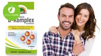 """Vesels un možs! SUNLIFE uztura bagātinātājs: """"B-Komplex"""" B vitamīnu komplekss (72 tab.)"""