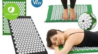 Relaksācijai un enerģijas atgūšanai! Akupunktūras paklājiņš, lai atslābinātos, noņemtu saspringumu un nogurumu (65 x 41 cm)