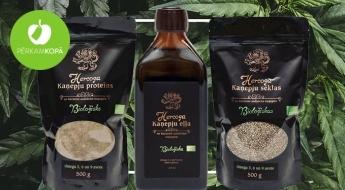 HERCOGS BIO kaņepju produkti - kaņepju eļļa, proteīns, sēklas un tēja