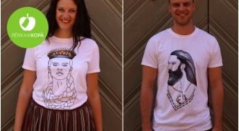 RAŽOTS LATVIJĀ! Sieviešu un vīriešu t-krekli baltā krāsā ar apdruku - dažādi dizaini (S-XXL)