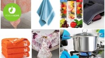 Silikona virtuves cimdi, paliktņi, sarkankoka ziepju trauki, eleganti un koši kokvilnas galdauti u.c. preces mājai