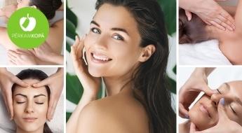 Dažādas relaksējošas muguras, apkakles zonas vai sejas masāžas salonā DELUX + dāvanā sejas maska
