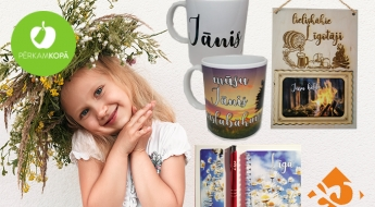 Radīts Latvijā! Fotogrāfiju rāmīši no koka, krūžes ar apdruku un dāvanu komplekti Līgo svētku tematikā - dāvana Jānim vai Līgai